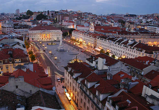 Praça Dom Pedro IV o del Rossio, Lisboa, Portugal. Foto: Flipao, Flickr (Wikimedia Commons).