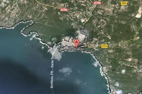 Ubicación de Bonifacio (Google maps). Clic para ampliar.