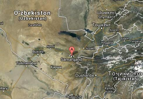 Ubicación de Samarkanda, Uzbekistán