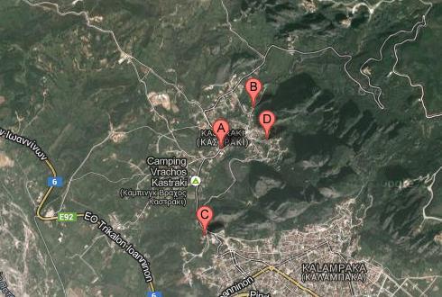 monasterios de Meteora, Grecia, Google maps