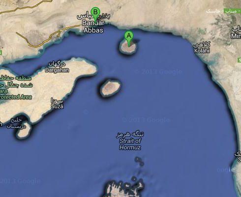 Ubicación de Ormuz, estrecho de Ormuz, Irán