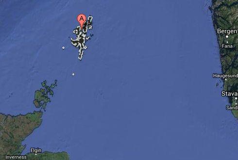 Localización en Google maps de Islas Shetland