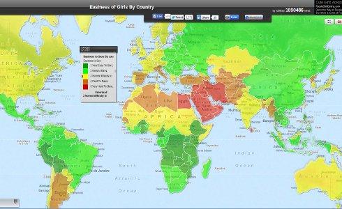 mapa de los países donde más se liga y los países donde menos se liga del mundo