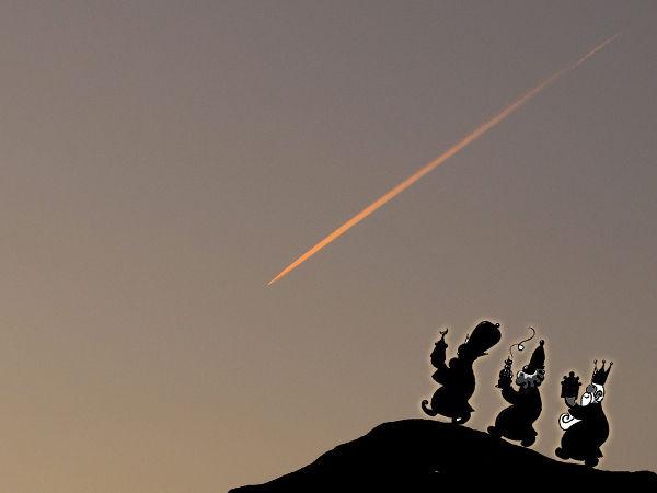 Reyes Magos siguiendo la Estrella de Belén