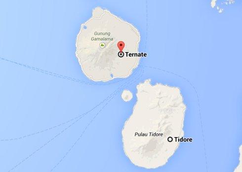 Ubicación de las islas de Ternate y Tidore, Indonesia