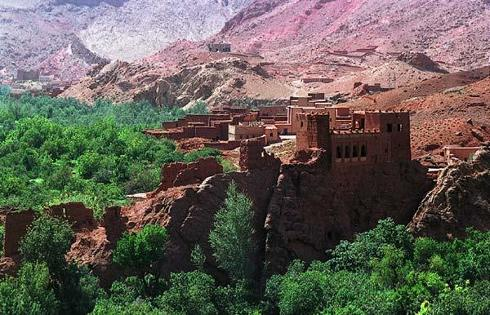 Kasbah de Aksar, en la zona de Ouarzazate, Marruecos