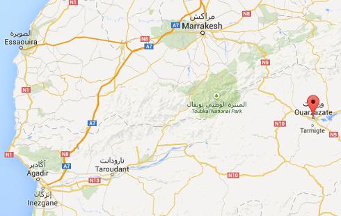 Ubicación de Ouarzazate (Google maps). Clic para ir al mapa.